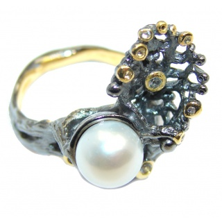 Rich Design Pearl Peridot Italy made Sterling Silver ring s. 7