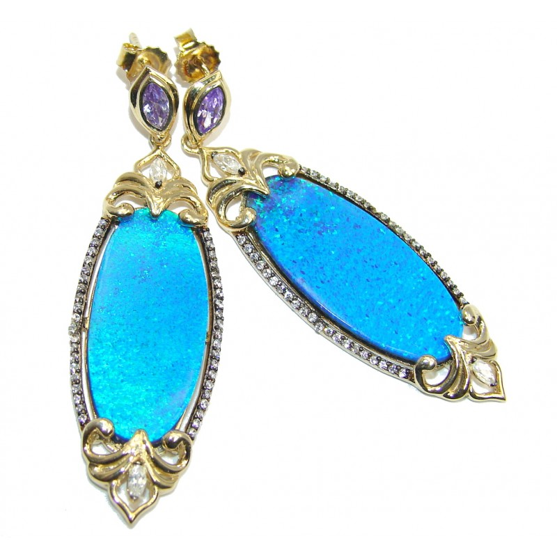 Ocean Blue Japanese Fire Opal Gold Rhodium plated over Sterling Silver earrings