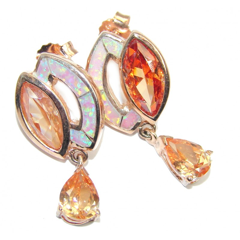 Exclusive created Morganite Gold Plated Sterling Silver earrings