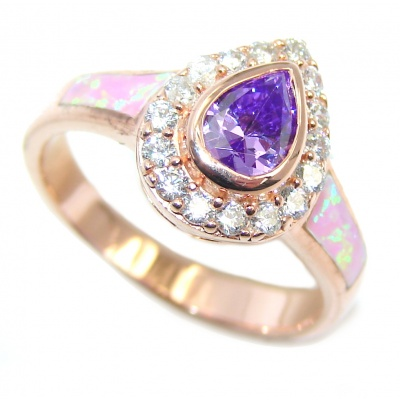 Sublime AAA Cubic Zirconia Rose Gold Rhodium plated over Sterling Silver Ring size 7