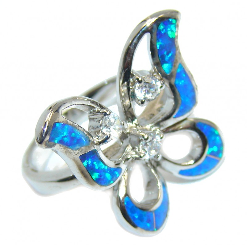 Fabulous Blue Fire Japanese Opal Rhodium plated over Sterling Silver ring s. 6