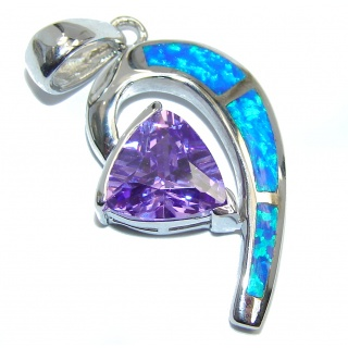 Luxurious Purple Cubic Ziconia Fire Opal Sterling Silver Pendant