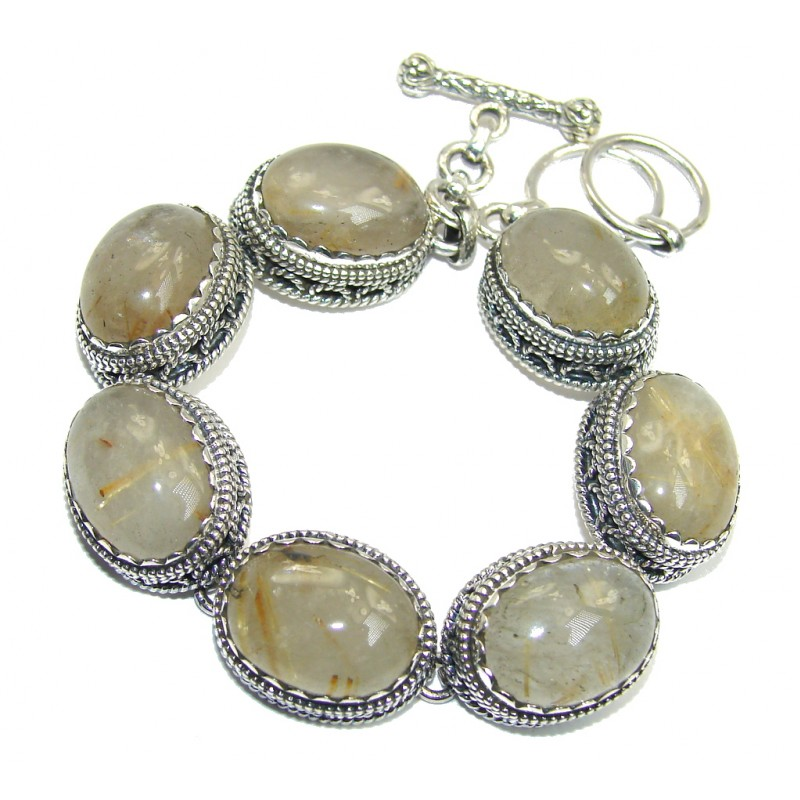 Gorgeous Vintage Designs Golden Rutilated Quartz Sterling Silver Bracelet