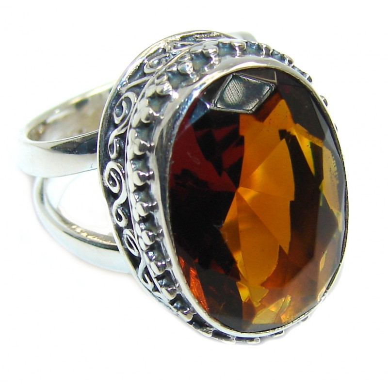 Bright created Golden Topaz Sterling Silver Ring size adjustable