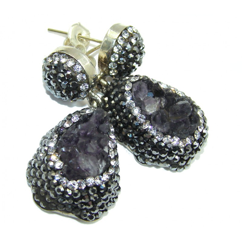 Perfect Design Purple Amethyst Sterling Silver earrings