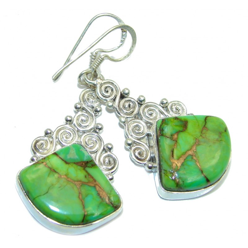 Solid Copper vains in Green Turquoise Sterling Silver earrings
