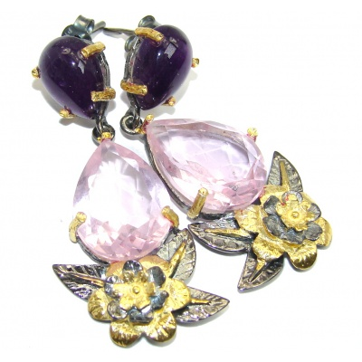 Fabulous Pink Quartz Gold Rhodium plated over Sterling Silver earrings