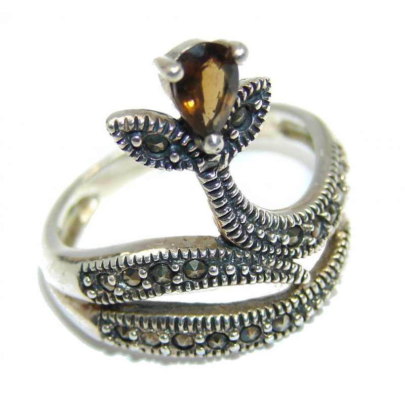 Amazing Genuine Smoky Topaz Sterling Silver ring size 7