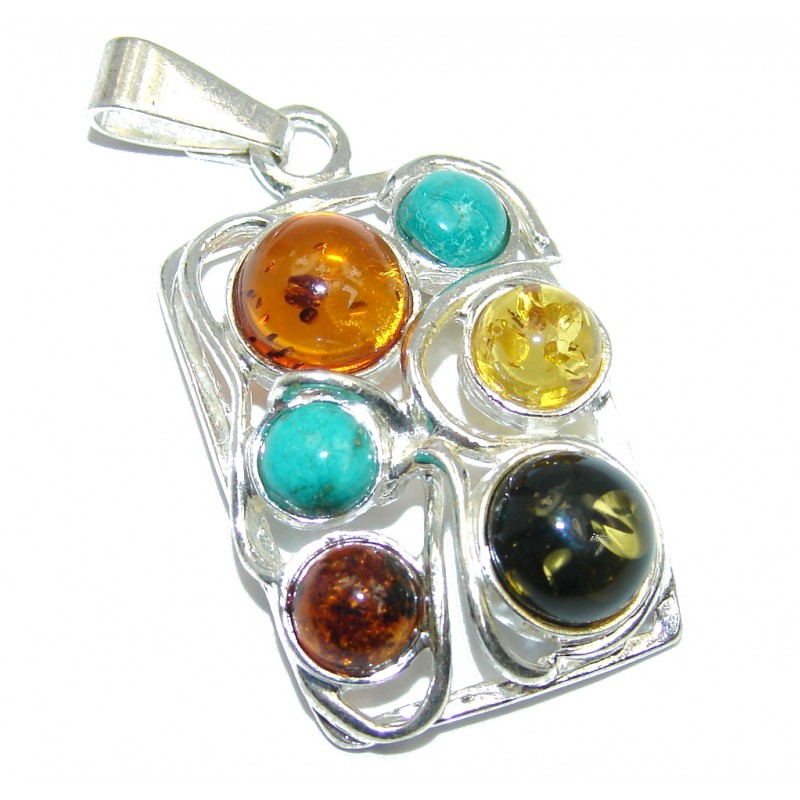 Natural Baltic Polish Amber & Turquoise Sterling Silver Pendant
