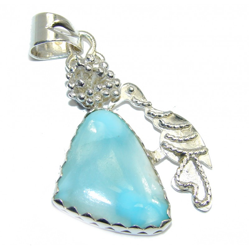 Bird Genuine Blue Larimar Sterling Silver Pendant