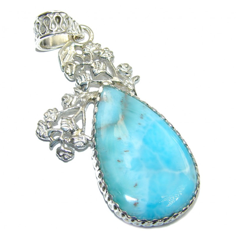 Genuine Blue Larimar Sterling Silver Pendant