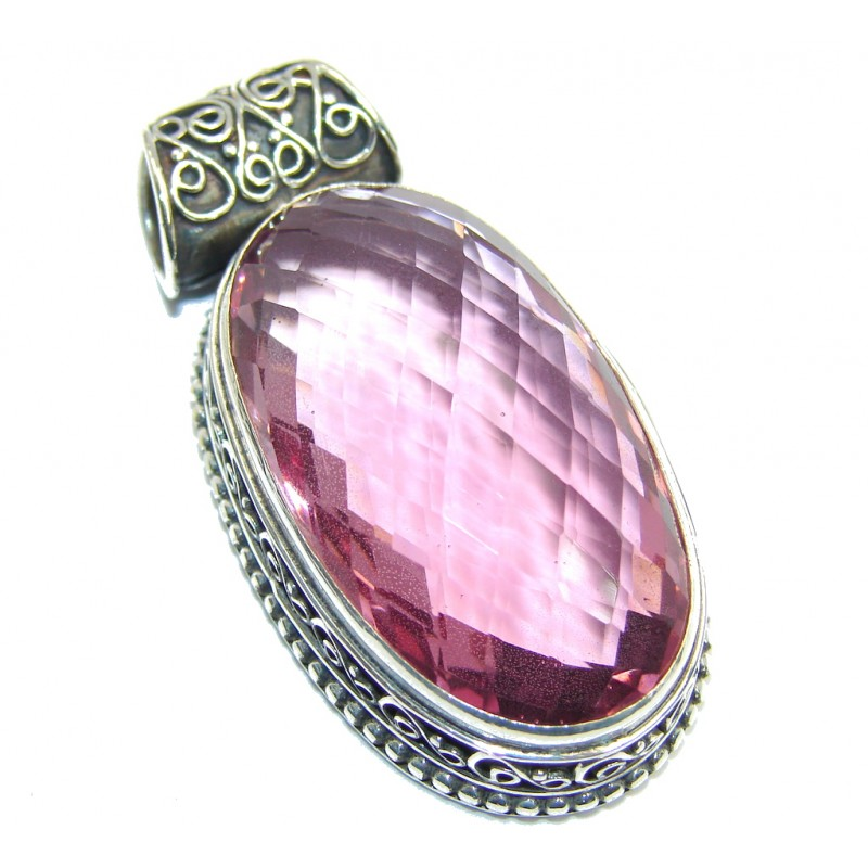 Large Simple created Pink Quartz Sterling Silver Pendant