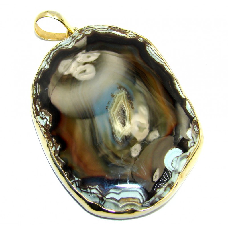Huge Brown Botswana Agate Gold Plated Sterling Silver Pendant