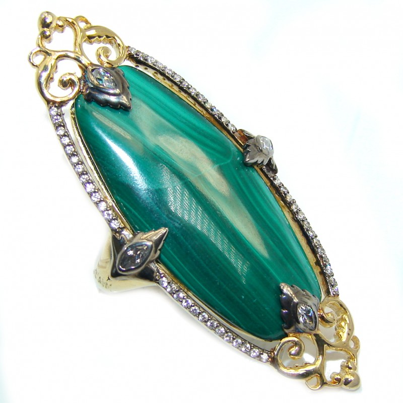 Beautiful AAA Green Malachite & White Topaz Gold PLated Sterling Silver ring s. 7 1/4