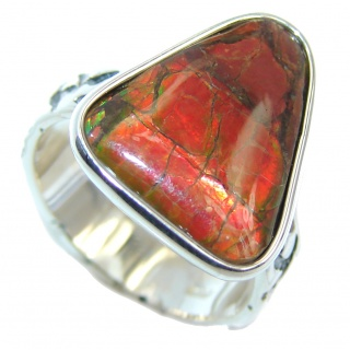 Wild Red Fire Genuine AAA + Ammolite Sterling Silver ring size 9