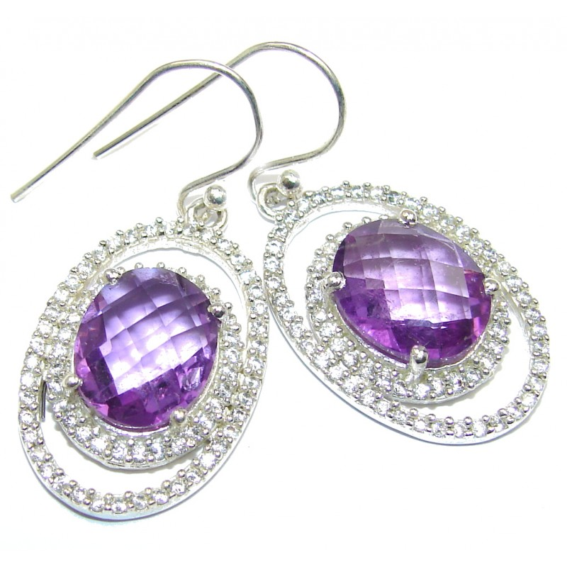 Perfect Purple Amethyst Whiet Topaz Sterling Silver earrings