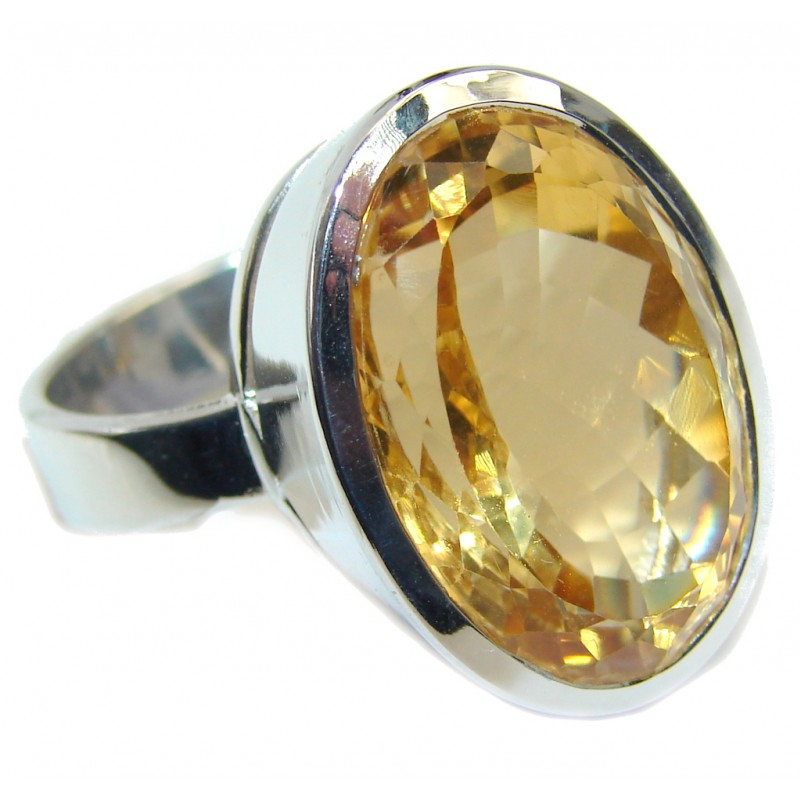 Big Yellow Citrine Gold Rhodium plated over Sterling Silver Ring s. 10