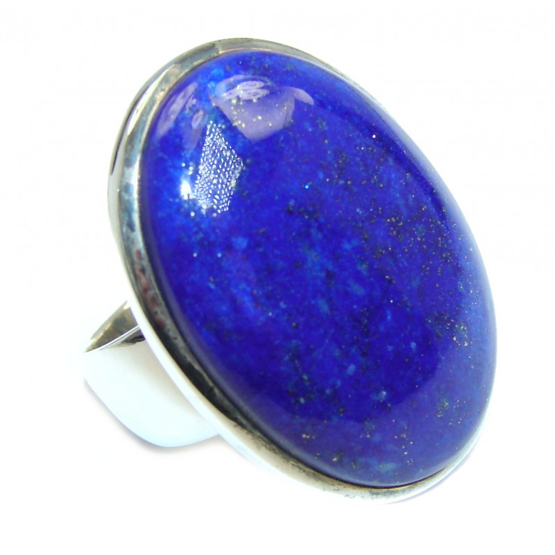 Perfect AAA Blue Lapis Lazuli Sterling Silver Ring size 9