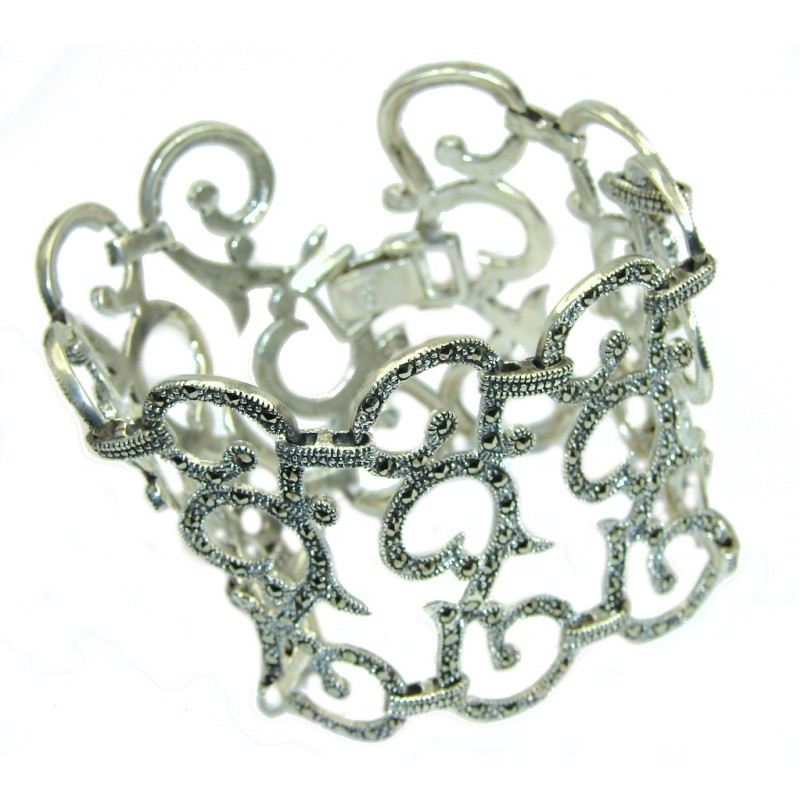 Made with Great Precision Marcasite Sterling Silver handcrafted Bracelet