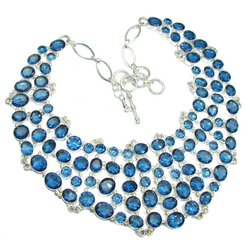 Lrage Bohemian Style Chunky London Blue Quartz Sterling Silver Necklace