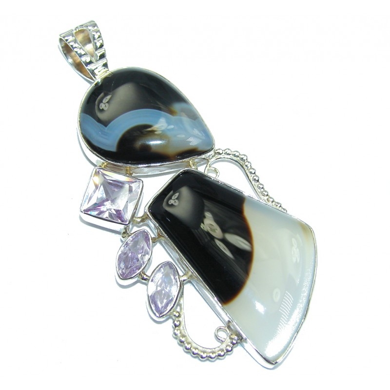 Perfect Storm Botswana Agate Sterling Silver Pendant
