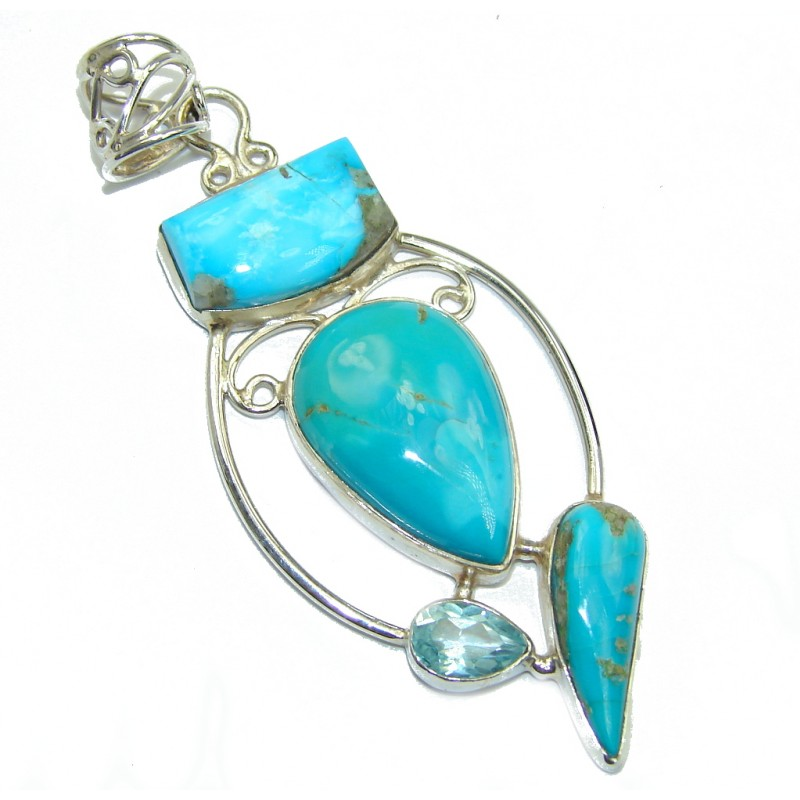 AAA Sleeping Beauty Blue Turquoise Sterling Silver Pendant