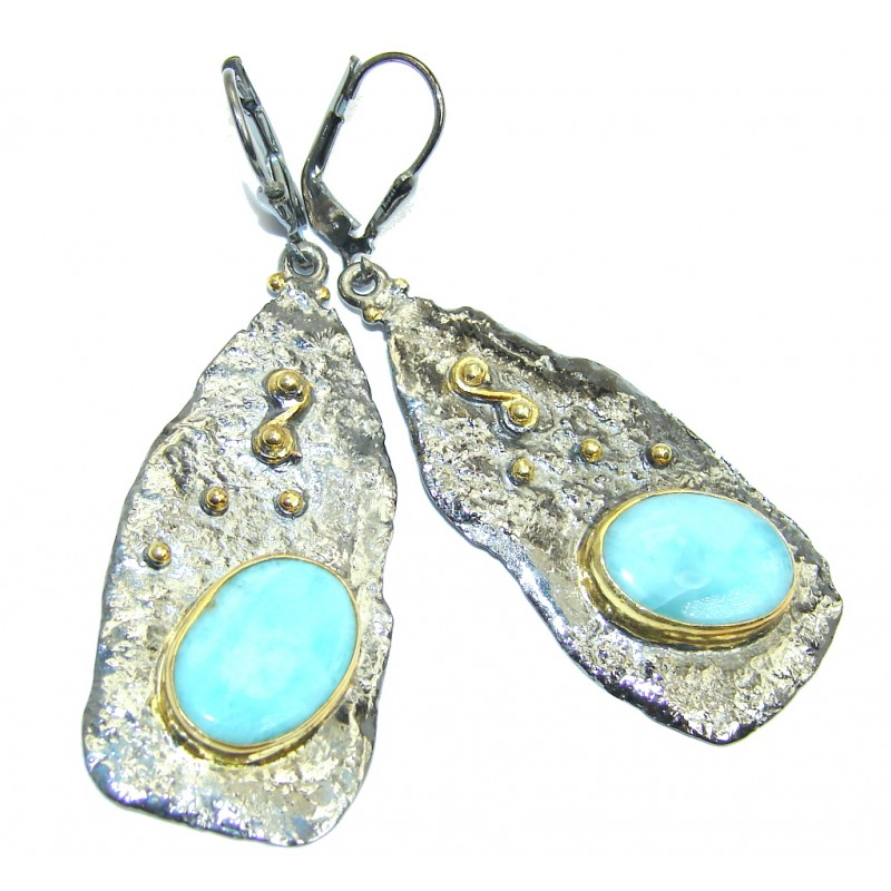 Long Precious AAA Blue Larimar Rhodium Gold plated over Sterling Silver earrings