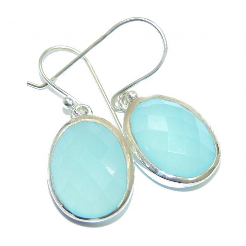 Exceptional Blue River Chalcedony Agate Sterling Silver earrings