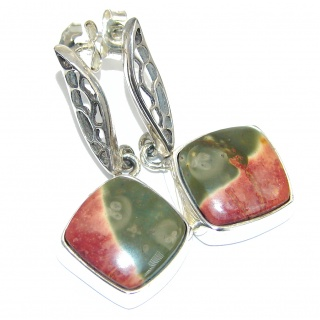 Bold Wild Horse Jasper Handcrafted Sterling Silver earrings