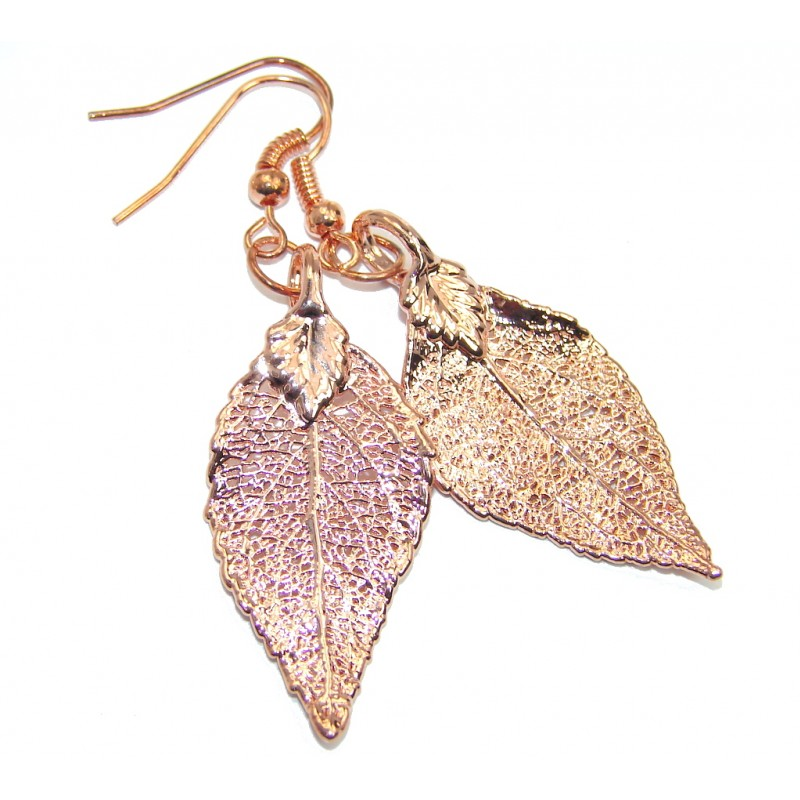 Stylish Leaf copper plated over Sterling Silver earrings