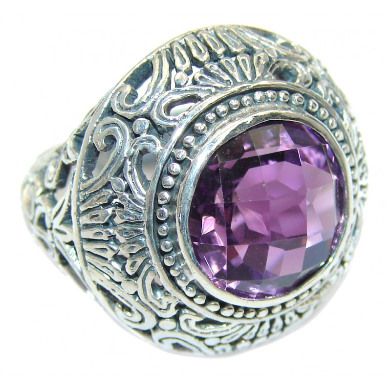 Amazing Amethyst Sterling Silver hand crafted Ring size 6