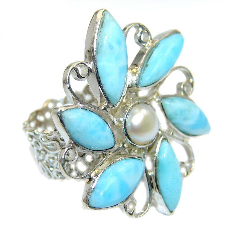 Sublime quality Blue Larimar Sterling Silver Cocktail Ring size 8