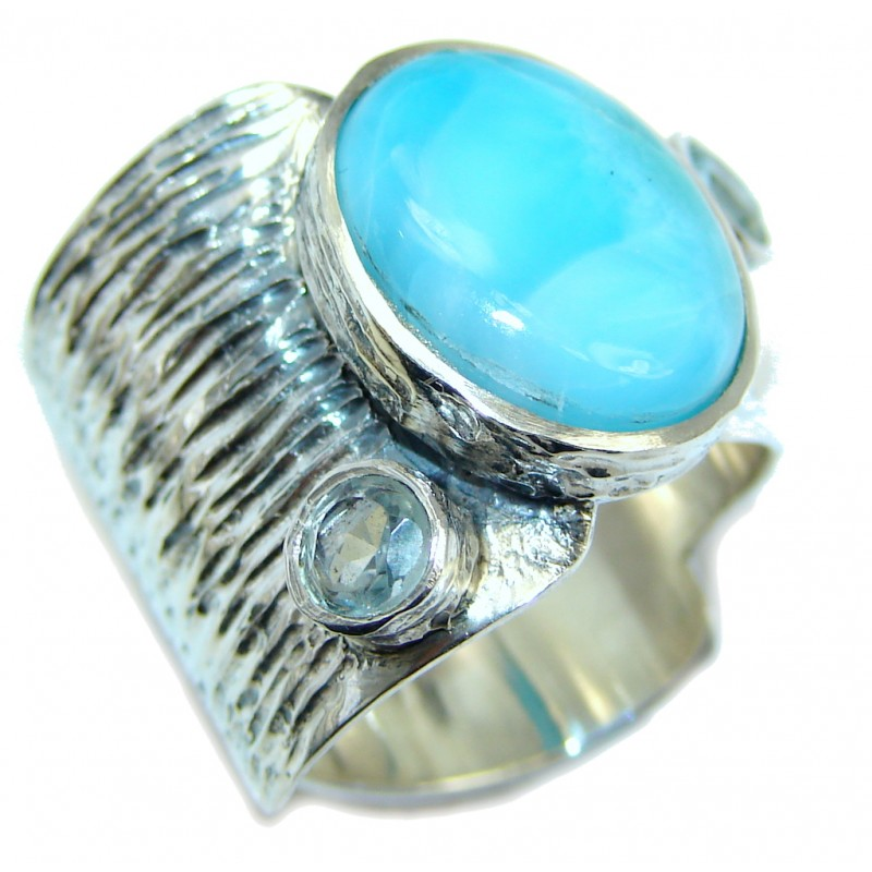 Sublime quality Blue Larimar Sterling Silver Cocktail Ring size adjustable