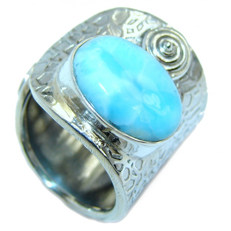 Bohemian Style Blue Larimar Sterling Silver Cocktail Ring size adjustable