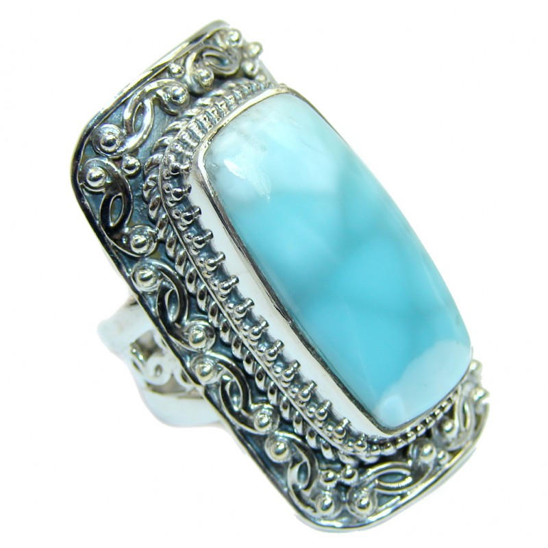 Huge Bohemian Style Blue Larimar Sterling Silver Cocktail Ring size adjustable