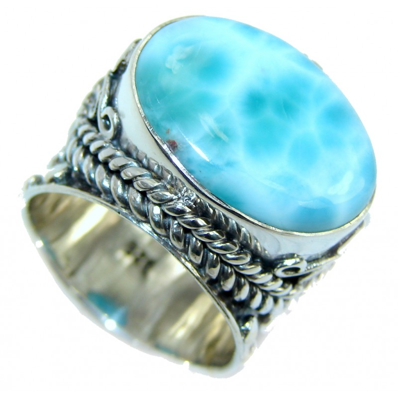 Huge Bohemian Style Blue Larimar Sterling Silver Cocktail Ring size 8