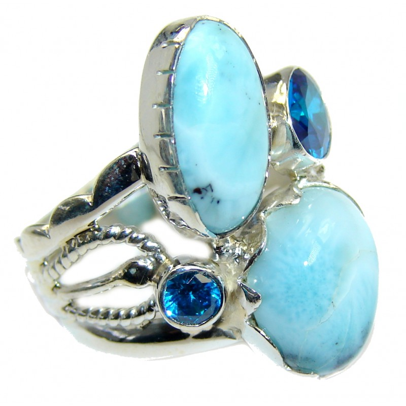 Big Genuine AAA Blue Larimar Sterling Silver Ring s. 9