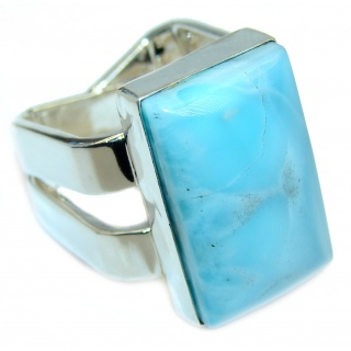 Unique Modern Style Blue Larimar Sterling Silver Cocktail Ring size 7 1/2