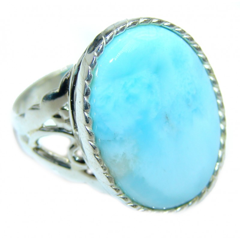Big Genuine AAA Blue Larimar Sterling Silver Ring s. 7
