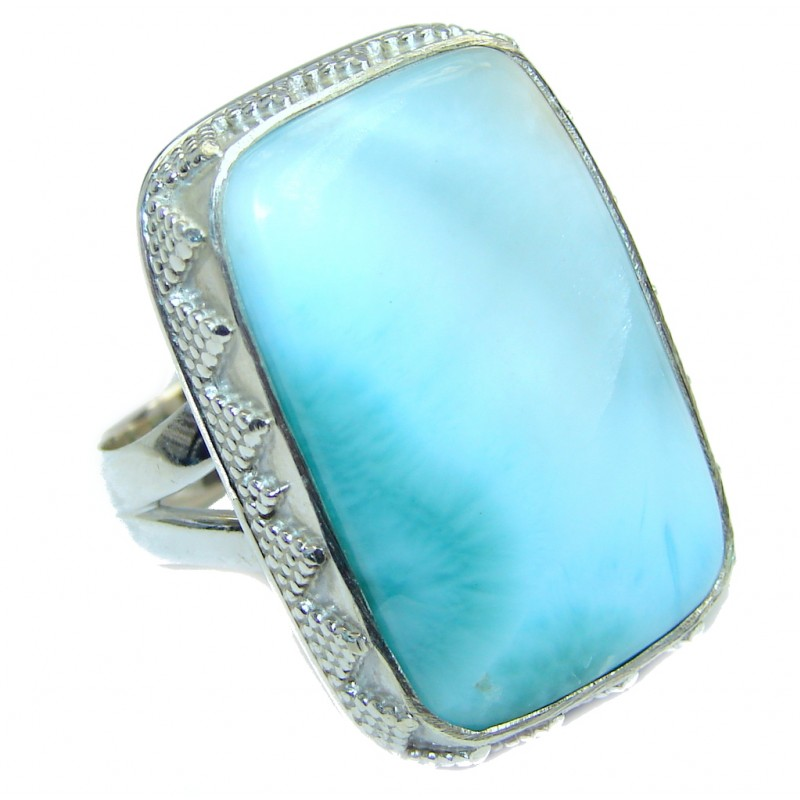 Unique Solid Design Blue Larimar Sterling Silver Cocktail Ring size 8