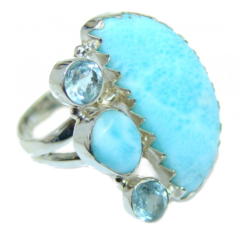 Genuine AAA Blue Larimar Blue Topaz Sterling Silver Ring s. 7 1/2