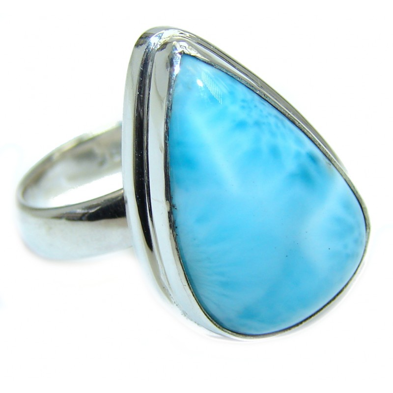 Big Genuine AAA Blue Larimar Sterling Silver Ring size adjustable