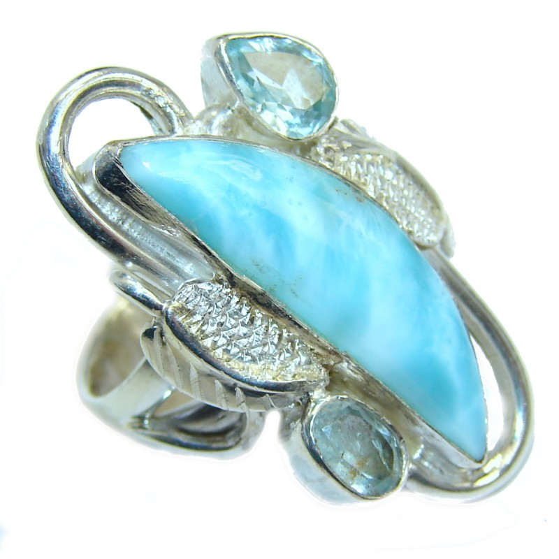 Genuine AAA Blue Larimar Swiss Blue Topaz Sterling Silver Ring s. 6 1/2