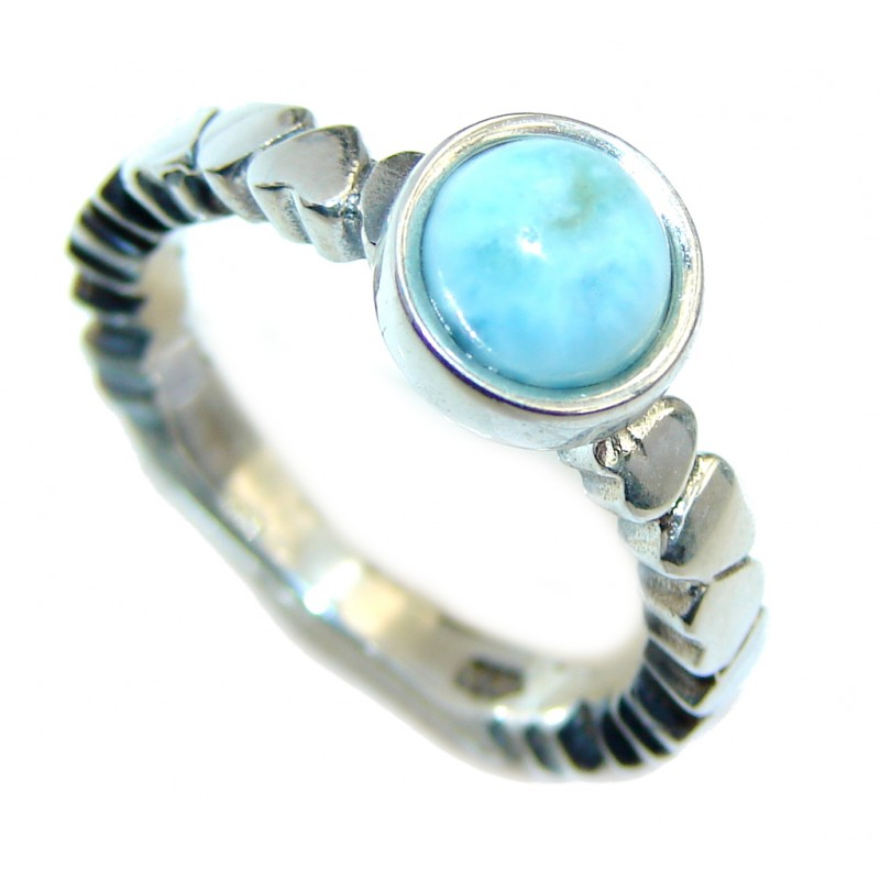 Genuine Petite AAA Blue Larimar Sterling Silver Ring s. 5 3/4