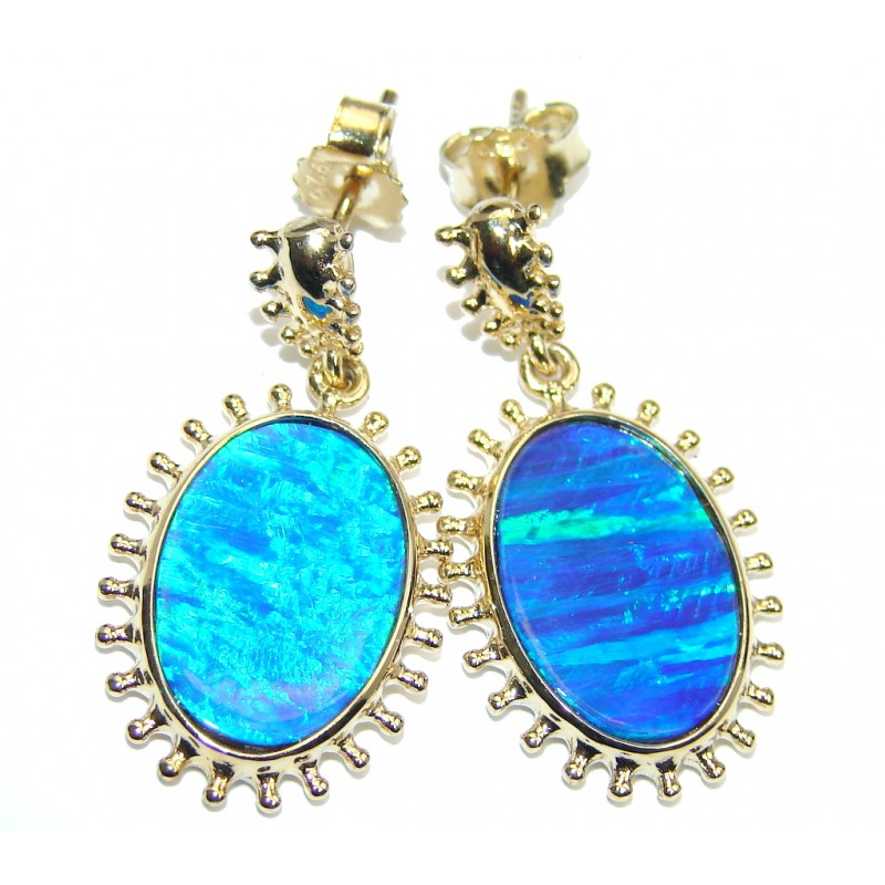 Ocean Blue Japanese Fire Opal Gold over Sterling Silver earrings