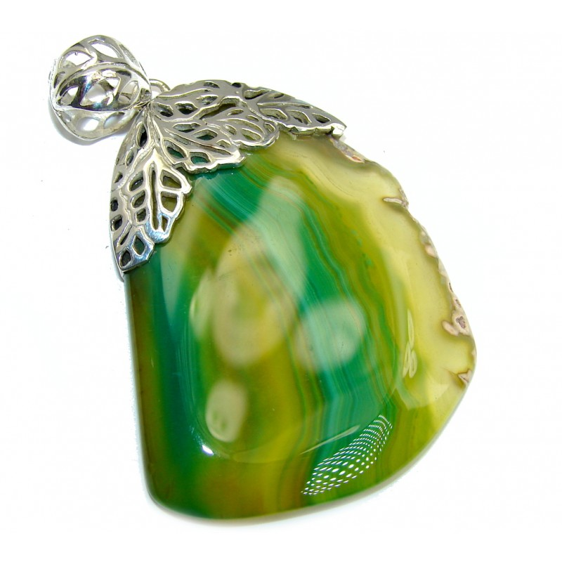 Perfect Green Aura Botswana Agate Sterling Silver Pendant