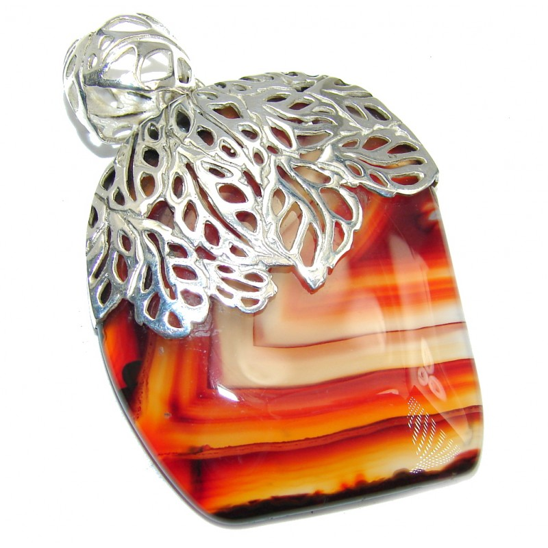 Perfect Orange Botswana Agate Sterling Silver Pendant