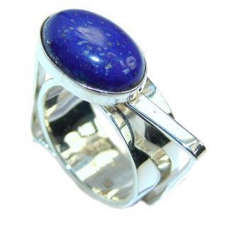 Ultra modern Royal Blue Lapis Lazuli Sterling Silver Ring s. 6