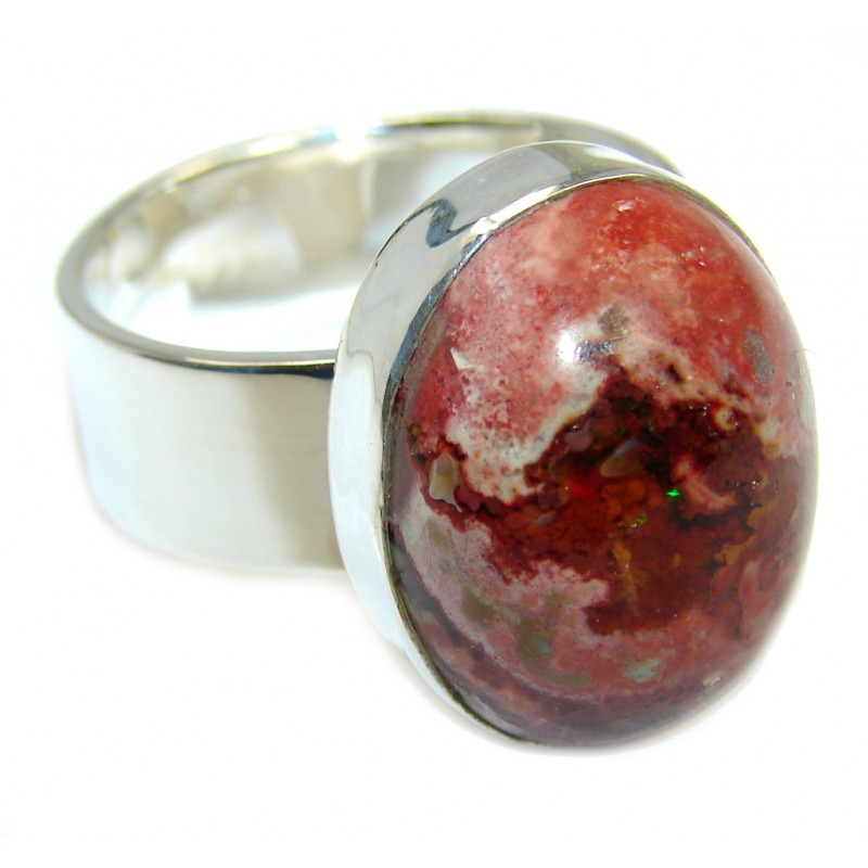 Fabulous AAA+ Mexican Fire Opal Oxidized Sterling Silver Ring s. 10