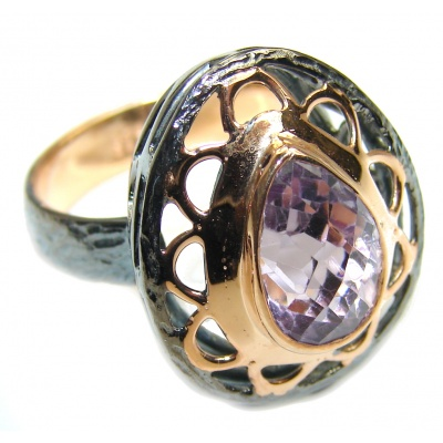 Precious Pink Amethyst Rose Gold plated over Sterling Silver Ring s. 7 1/4